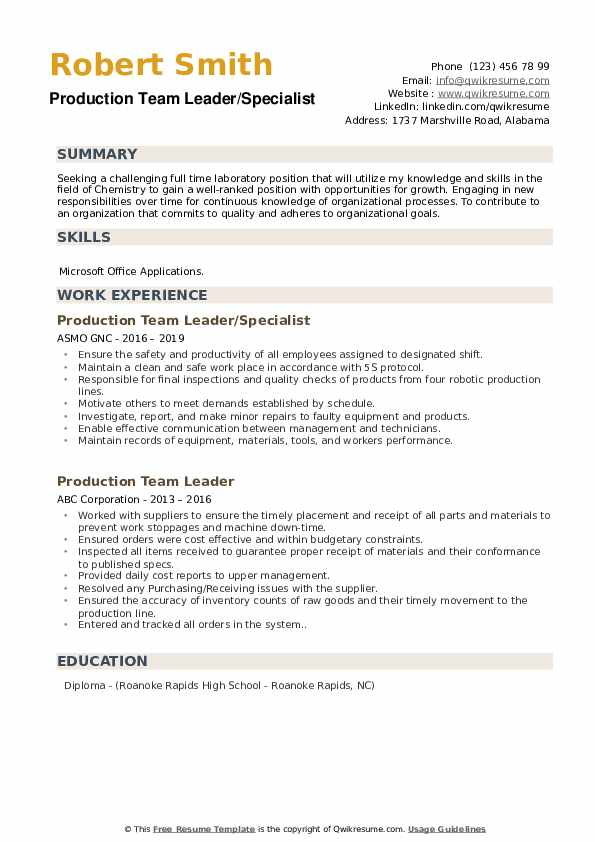 Production Team Leader/Specialist Resume Example