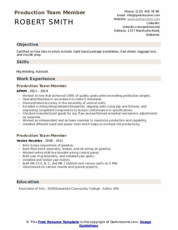 Production Team Member Resume Example