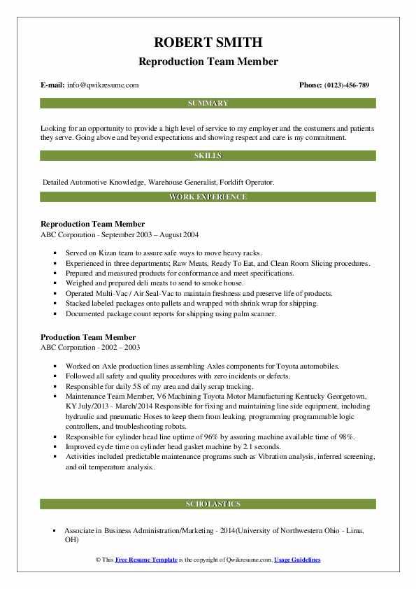 Reproduction Team Member Resume Model