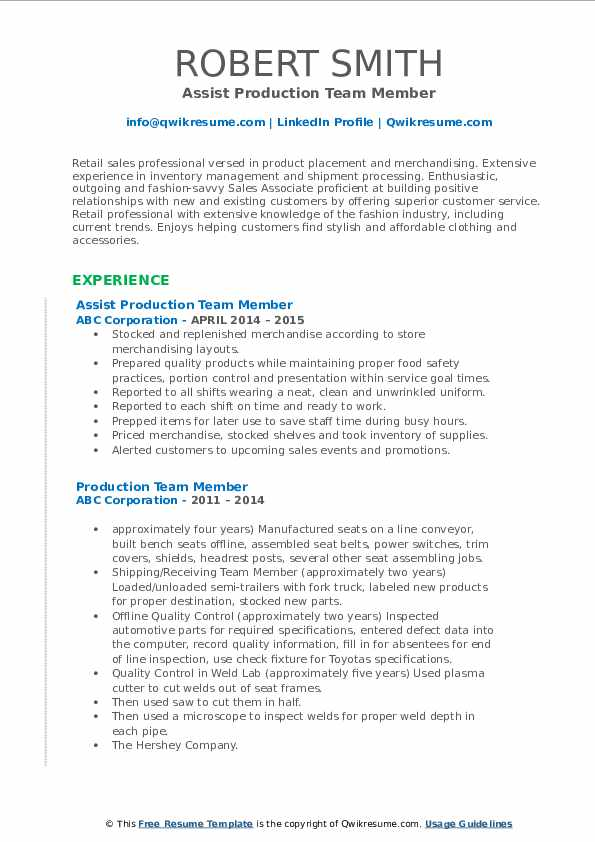 Assist Production Team Member Resume Example