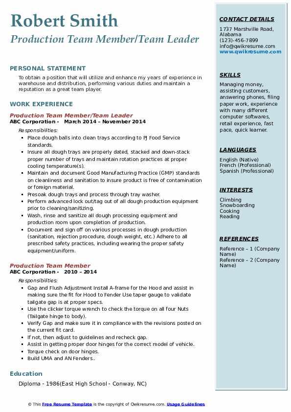 Production Team Member/Team Leader Resume Example