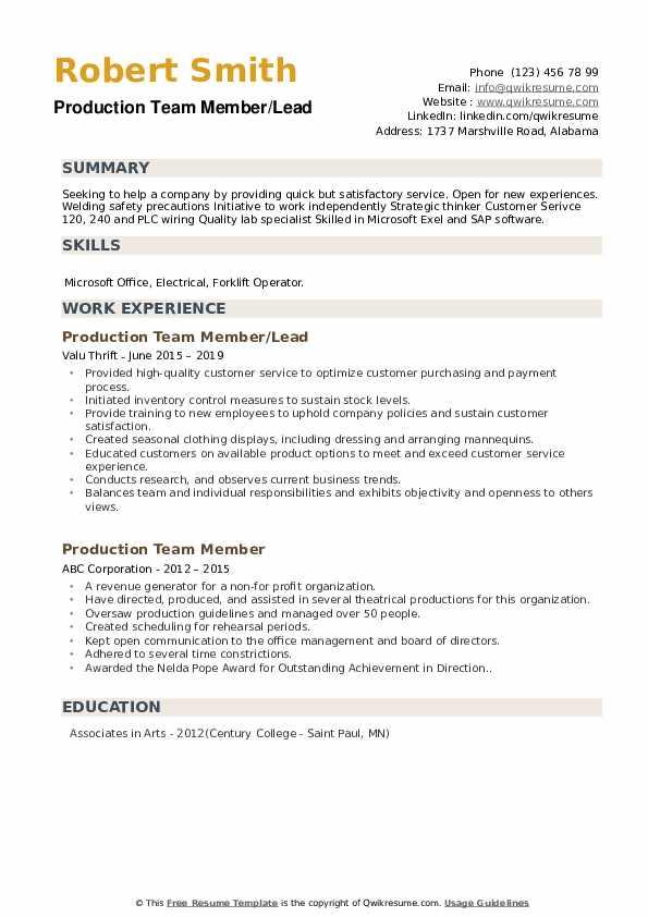 Production Team Member/Lead Resume Format
