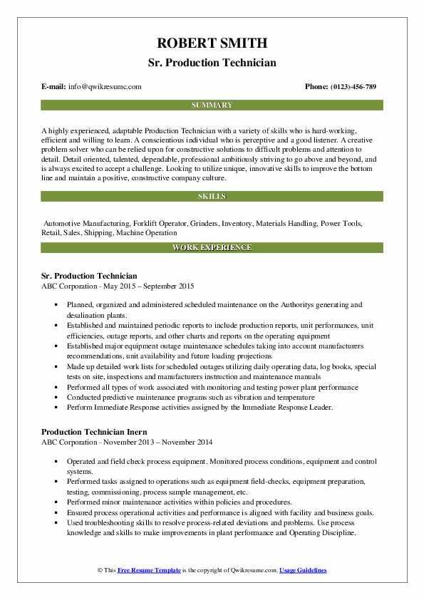 Sr. Production Technician Resume Example