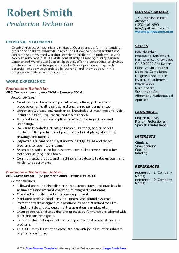 Production Technician Resume Model
