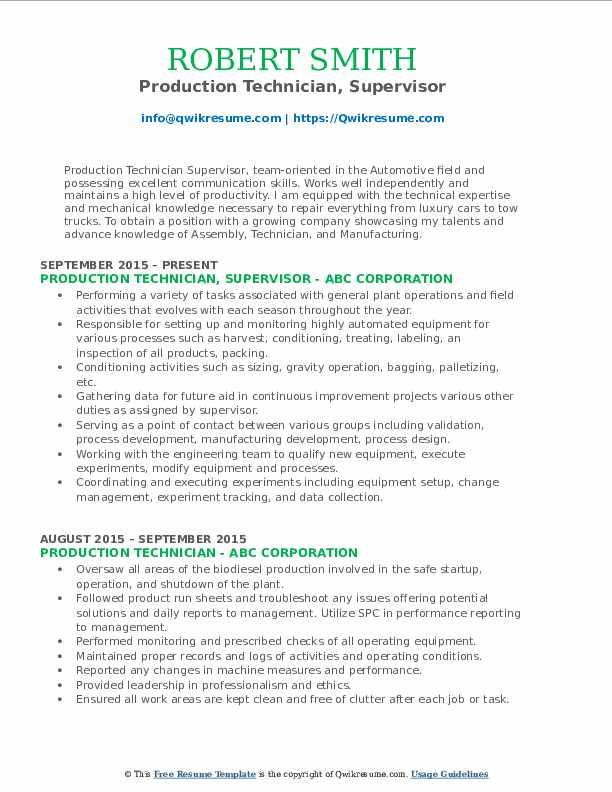 Production Technician, Supervisor Resume Format