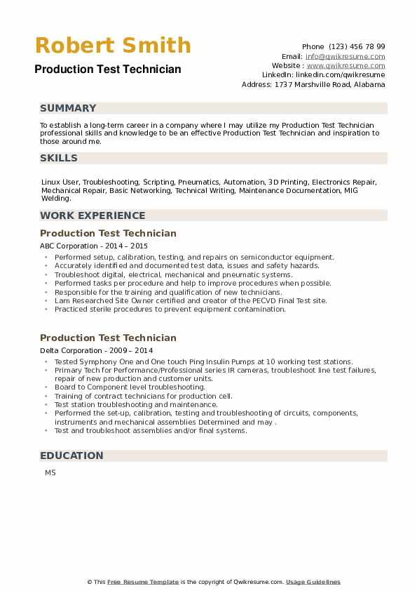 Production Test Technician Resume example