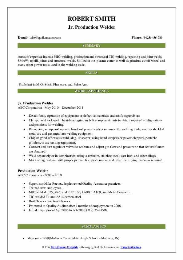 Jr. Production Welder Resume Template