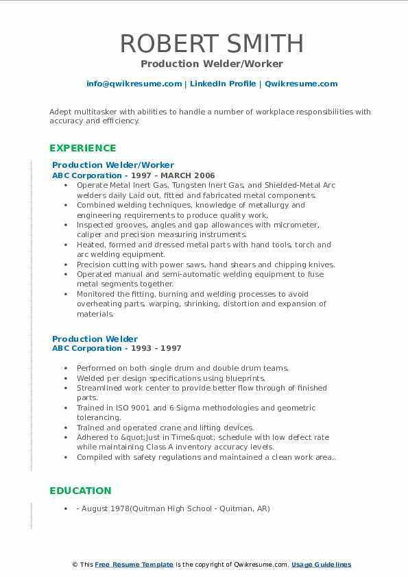 Production Welder/Worker Resume Model