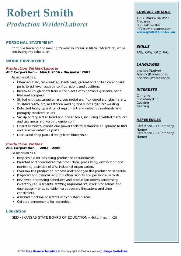 Production Welder/Laborer Resume Sample