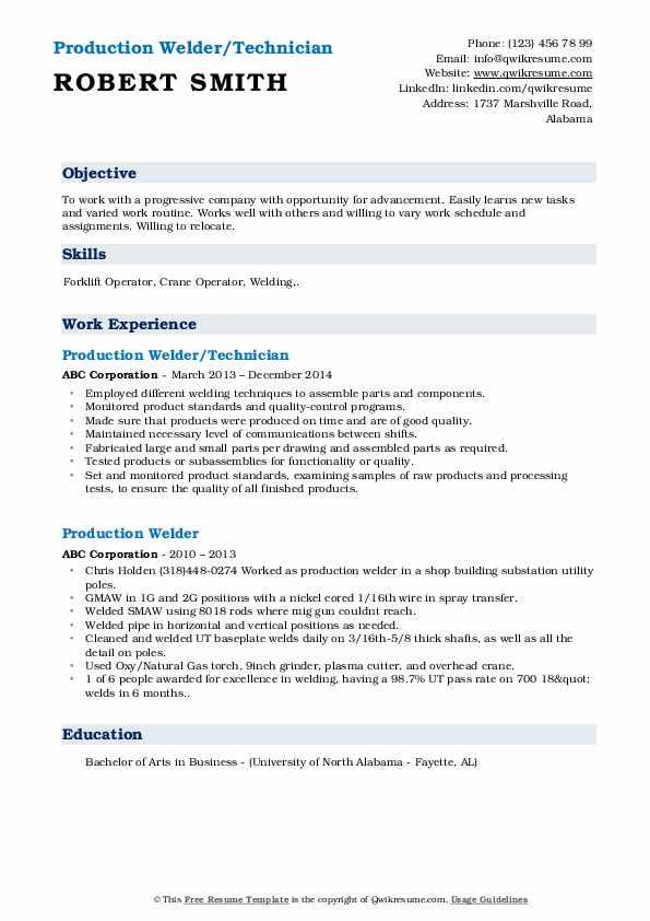 Production Welder/Technician Resume Model