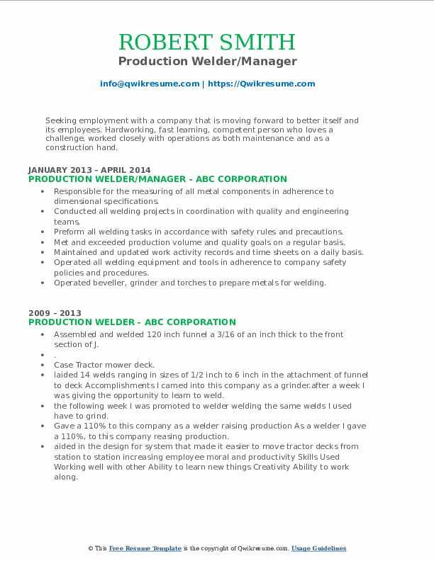 Production Welder/Manager Resume Format