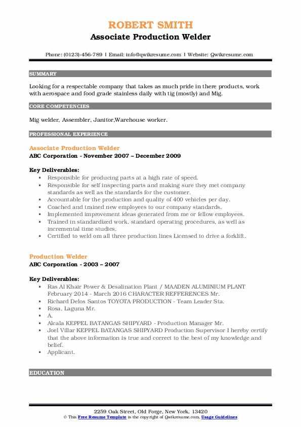 Associate Production Welder Resume Example