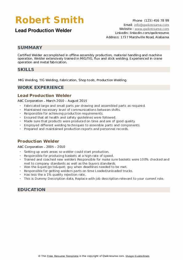 Lead Production Welder Resume Template