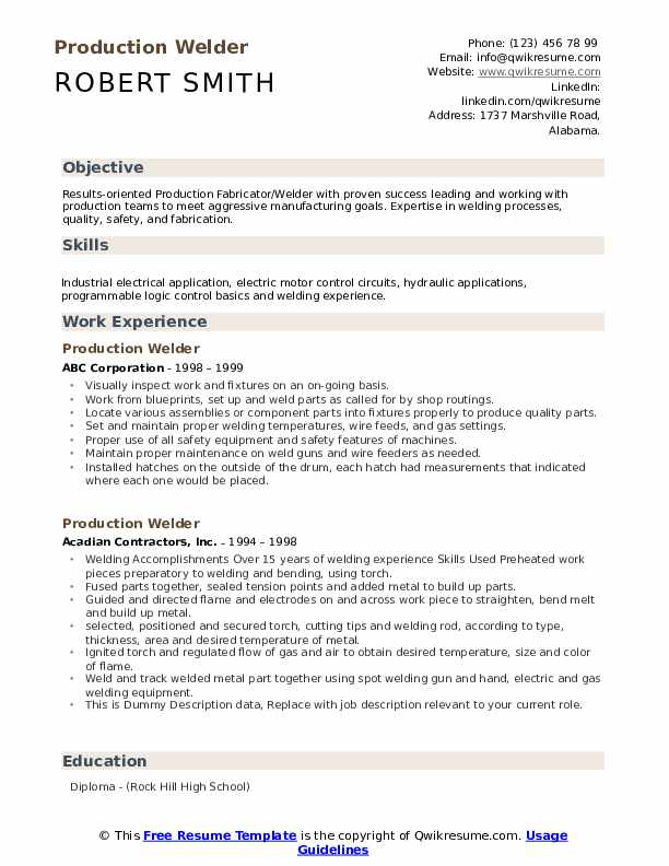 Production Welder Resume example