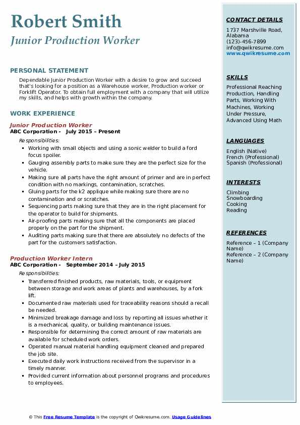 Junior Production Worker Resume Format