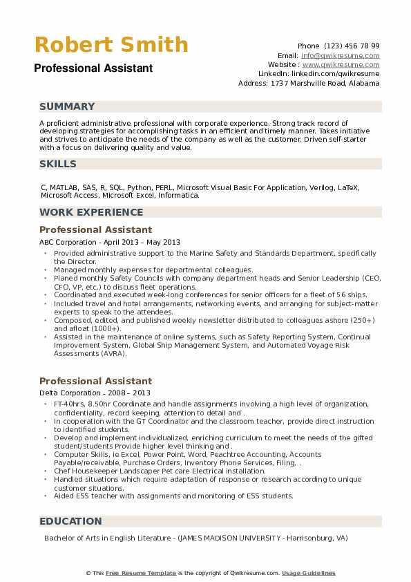 Professional Assistant Resume example