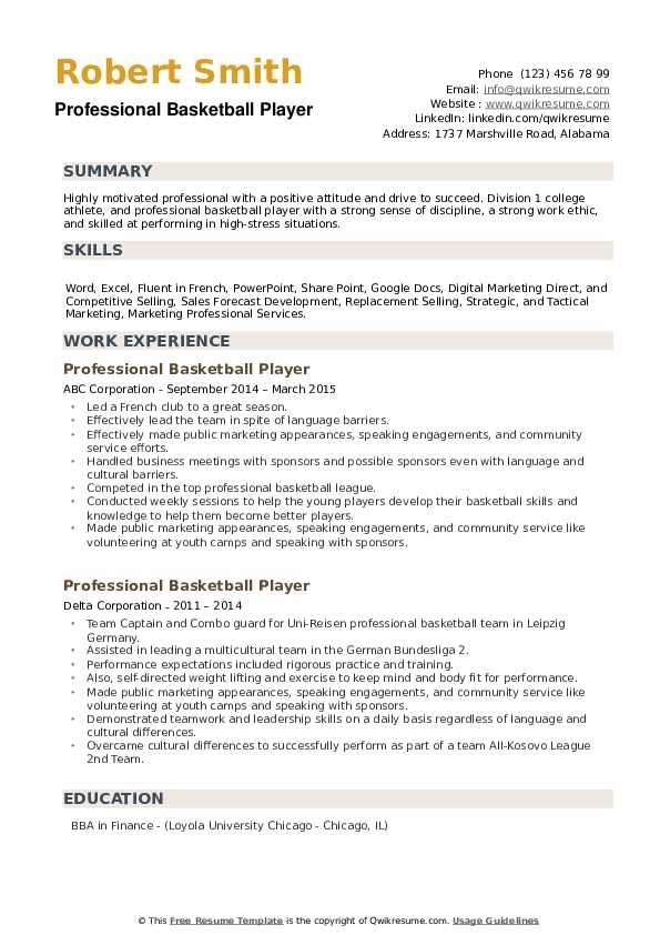 Professional Basketball Player Resume example