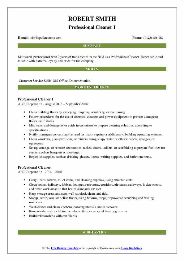 Professional Cleaner I Resume Format