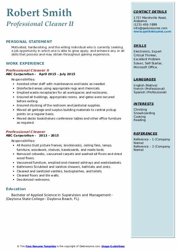 Professional Cleaner II Resume Template