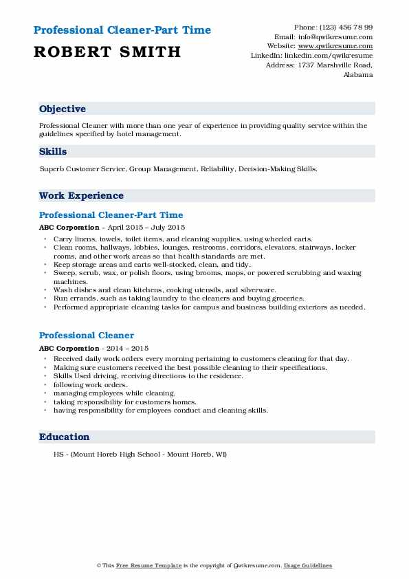 Professional Cleaner-Part Time Resume Sample