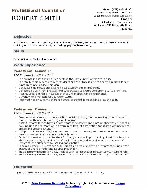 Professional Counselor Resume example