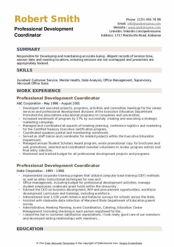 Professional Development Coordinator Resume example