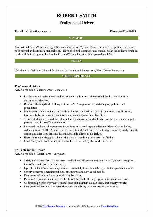professional driver resume samples