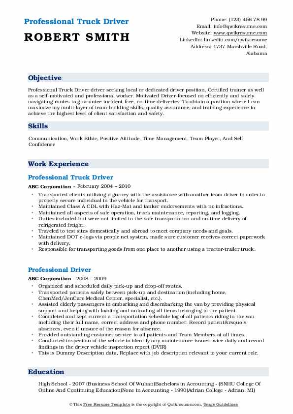 Professional Truck Driver Resume Template