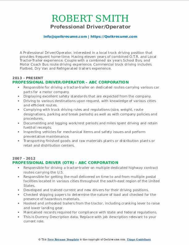 Professional Driver/Operator Resume Sample