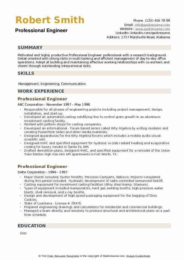 Professional Engineer Resume example