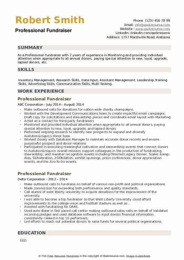 Professional Fundraiser Resume example