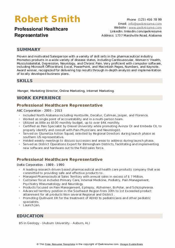 Professional Healthcare Representative Resume example