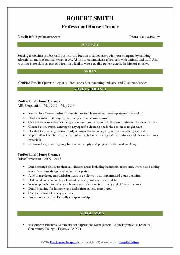 professional house cleaner resume samples  qwikresume