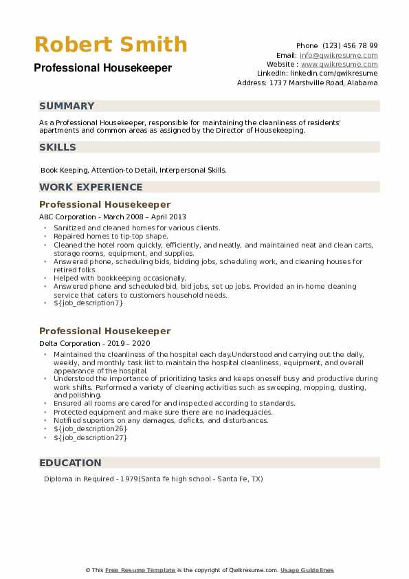 Professional Housekeeper Resume example