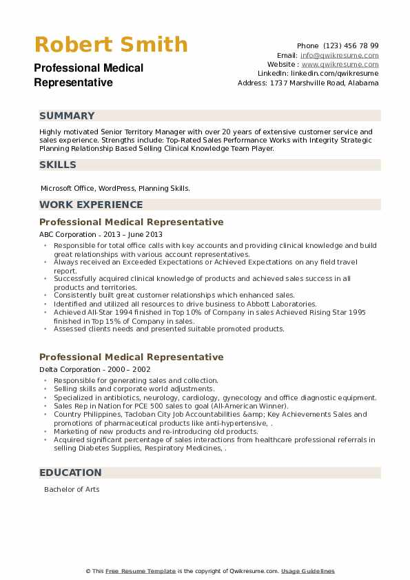 Professional Medical Representative Resume example