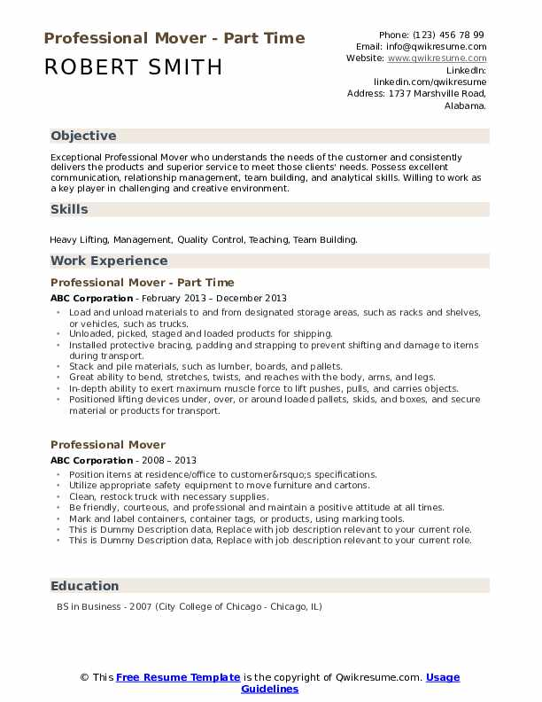 Professional Mover Resume example