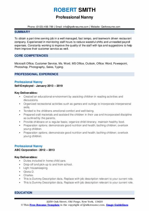 Professional Nanny Resume Samples Qwikresume