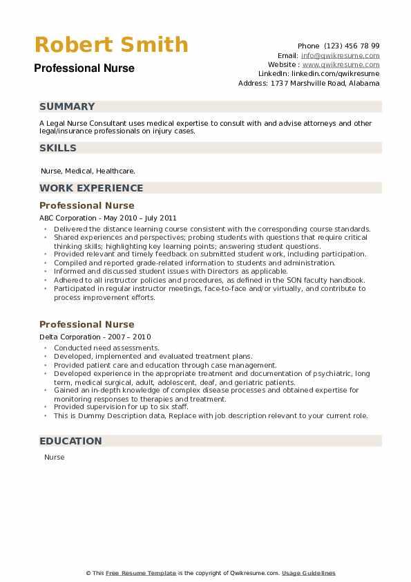 Professional Nurse Resume example