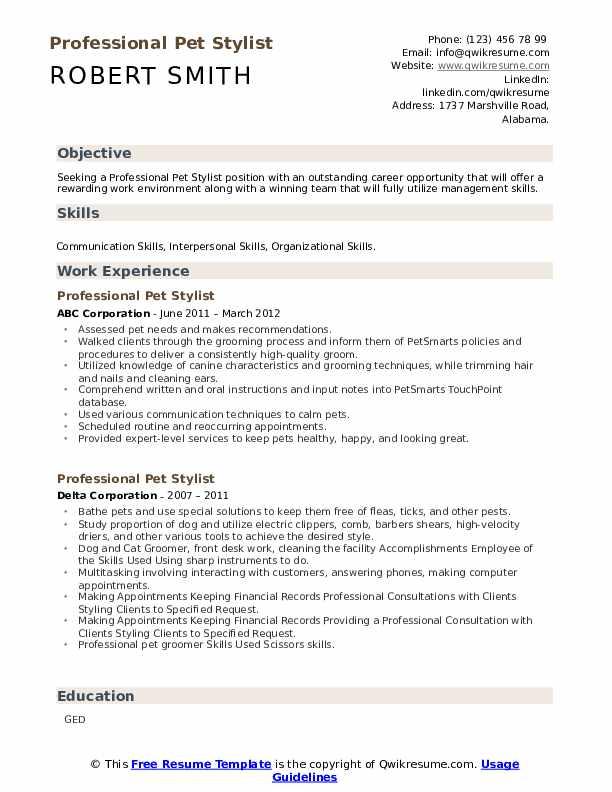 professional pet stylist resume samples  qwikresume