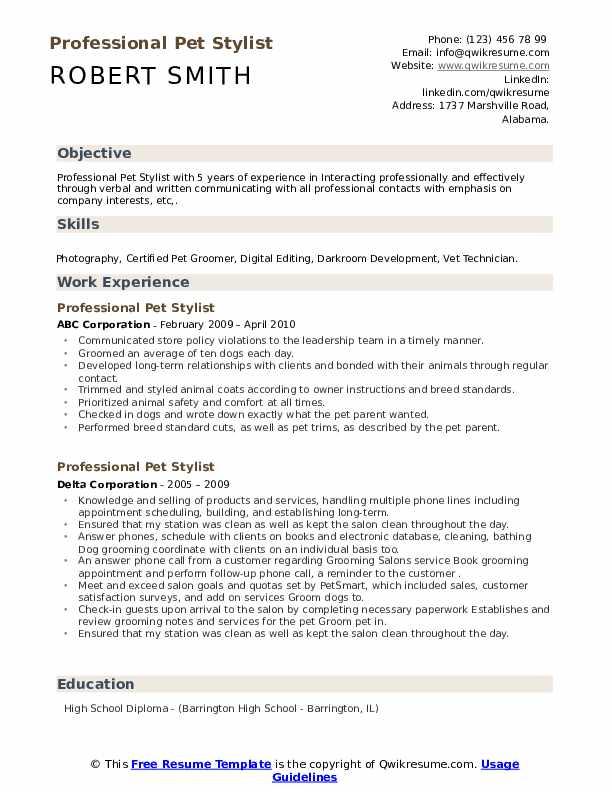 Professional Pet Stylist Resume example