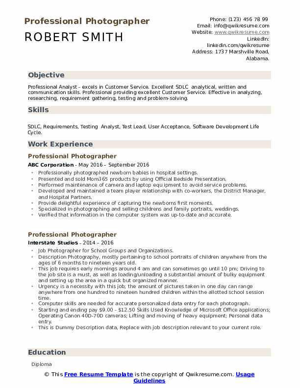 Professional Photographer Resume example