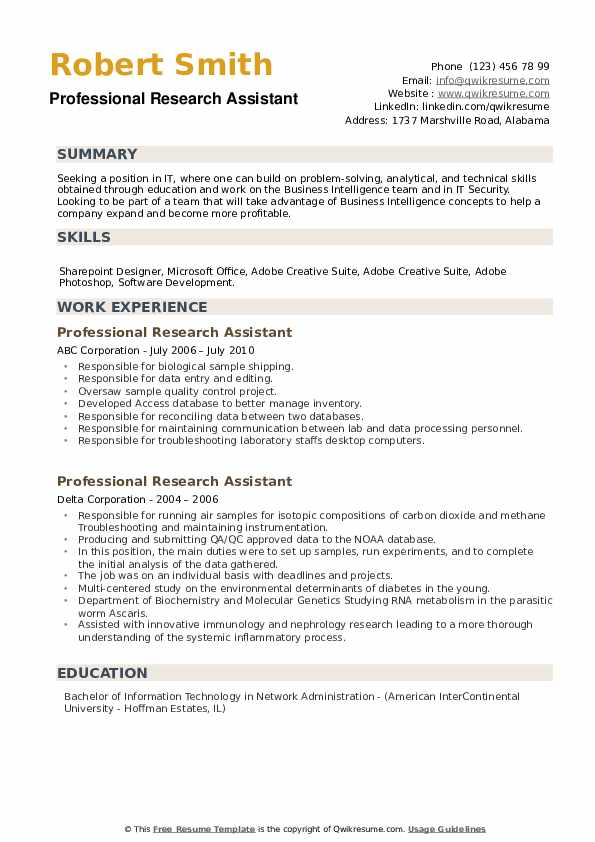 Professional Research Assistant Resume example