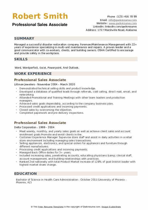 Professional Sales Associate Resume example