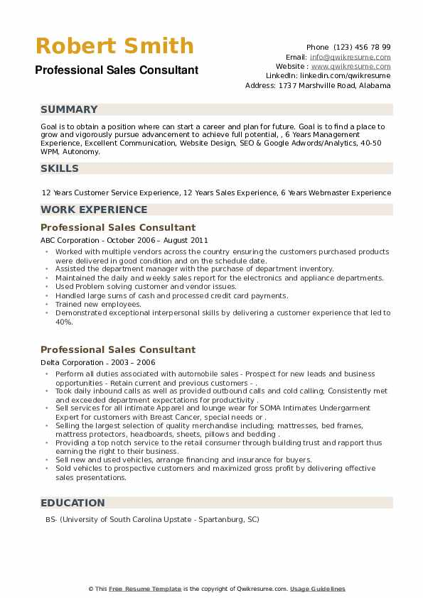 Professional Sales Consultant Resume example