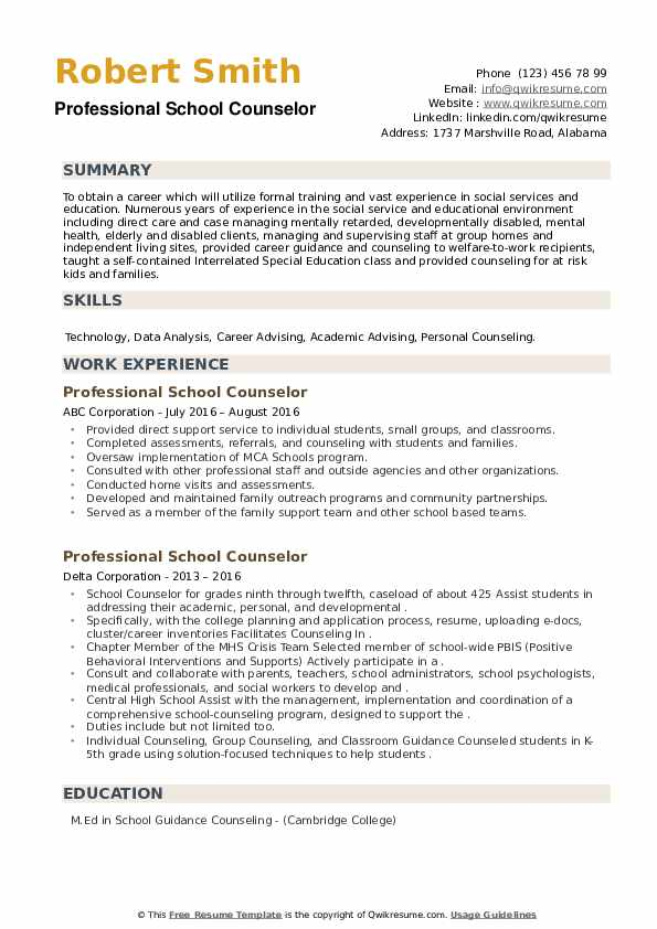 Professional School Counselor Resume example