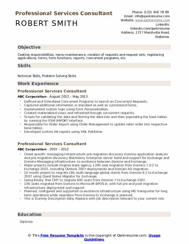 Professional Services Consultant Resume example