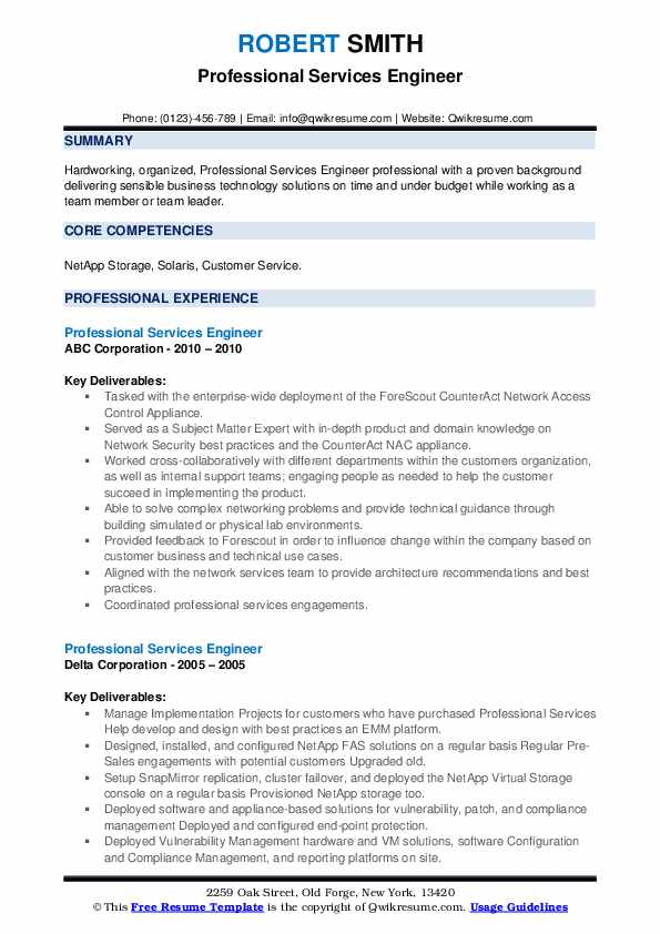 professional services engineer resume samples  qwikresume