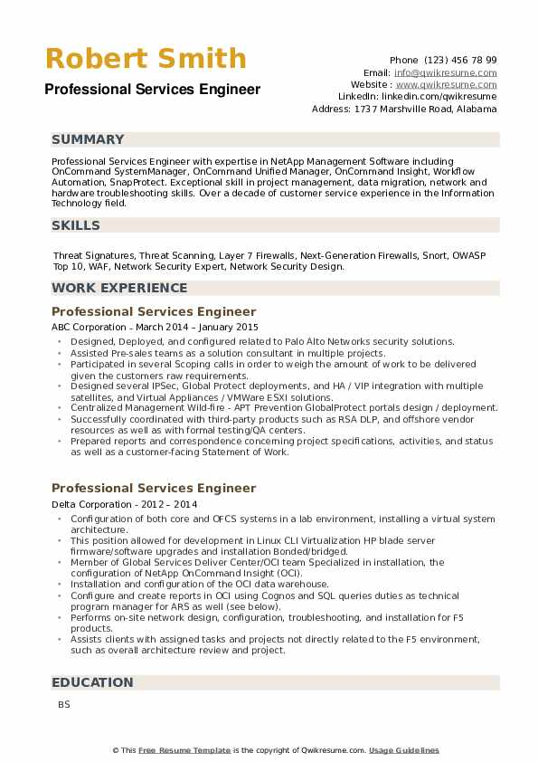 Professional Services Engineer Resume example