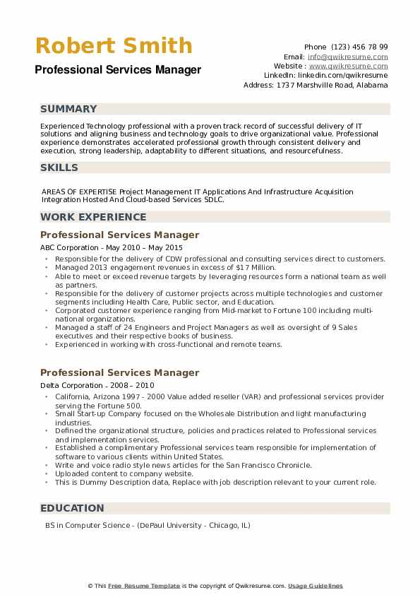 Professional Services Manager Resume example