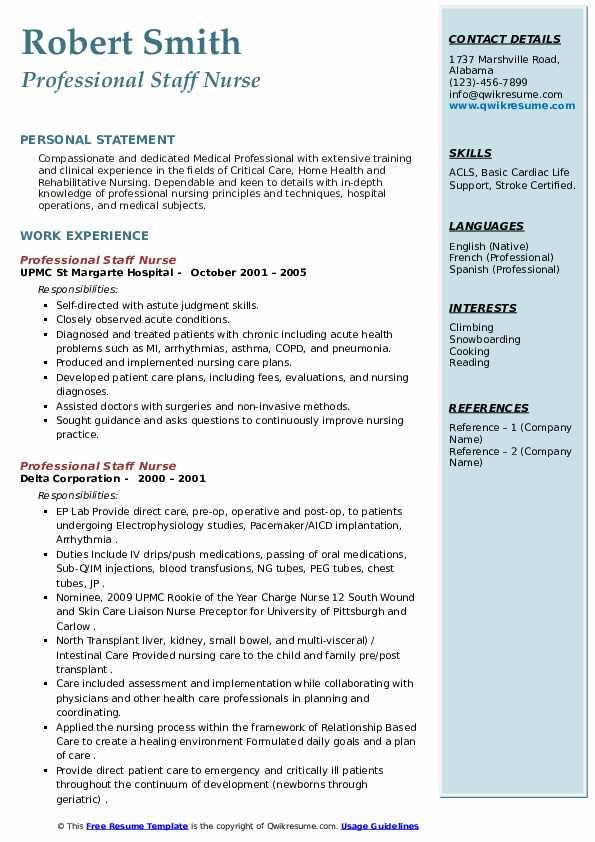 professional staff nurse resume samples